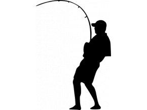 Samolepka - Rybář  stojící na pravém břehu