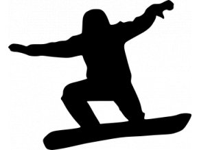 Samolepka na auto - Silueta snowborďáka v letu