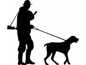 Samolepka na auto - Myslivec se psem na vodítku