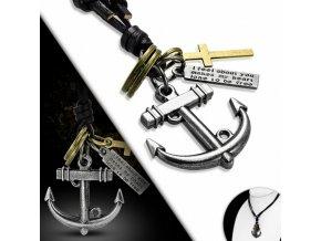 """<img src=""""www.gravon.cz/nahrdelnik.jpg"""" alt=""""Pánský Kožený náhrdelník Kotva a Kříž"""">"""