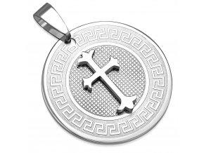 Přívěsek medailonek s křížkem Fleur de Lies chirurgická ocel AVP370 + řetízek