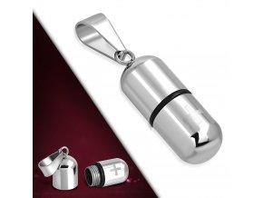 Přívěsek chirurgická ocel - schránka na léky UPK963
