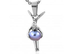 Přívěsek víla s perlou chirurgická ocel