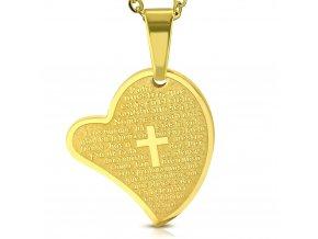 Přívěsek srdce zlaté chirurgická ocel