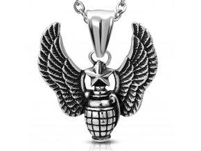 Přívěsek granát s křídly a hvězdou odvahy PCS136