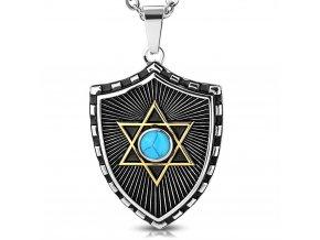 Přívěsek Davidova hvězda na štítu chirurgická ocel PCS622