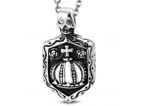 Přívěsek královská koruna s lebkou na štítu chirurgická ocel PCS397
