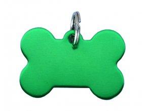 Známka pro psa zelená kost s rytím