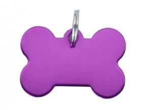 Známka pro psa fialová kost s rytím