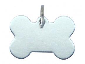Známka pro psa stříbrná kost s rytím