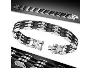 Ocelový pánský náramek stříbrno-černý chirurgická ocel