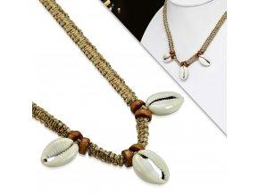 Splétaný náhrdelník přírodní s mušličkami INX156