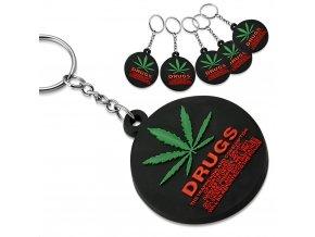 Gumová klíčenka Drugs list marihuany