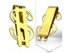 Spona na bankovky zlatý dolar chirurgická ocel SCY114