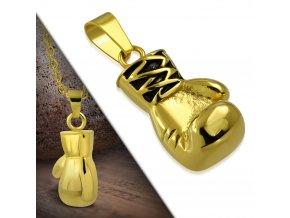 Přívěšek z chirurgické oceli boxerská rukavice zlatá PMX474