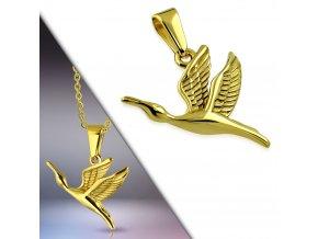Přívěsek letící jeřáb zlatý chirurgická ocel APA062