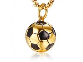 Přívěsek fotbalový míč chirurgická ocel zlatý PCX183