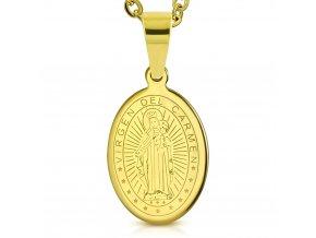 Přívěsek medailonek Panna Marie ovál zlatý