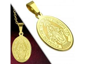 Přívěsek medailonek Panna Marie ovál zlatý chirurgická ocel PCR797