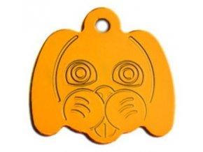 Psí známka ve tvaru psí hlavy - žlutá