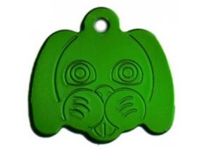 Známka pro psa ve tvaru psí hlavy - zelená
