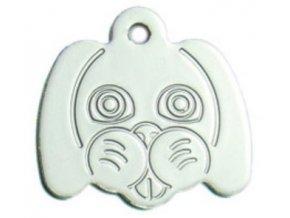 Známka pro psa ve tvaru psí hlavy - stříbrná