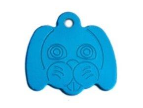 Známka pro psa ve tvaru psí hlavy - bledě modrá