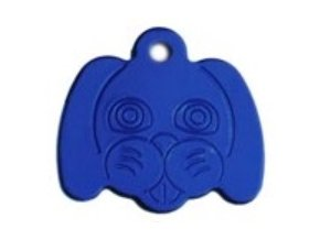 Známka pro psa ve tvaru psí hlavy - modrá