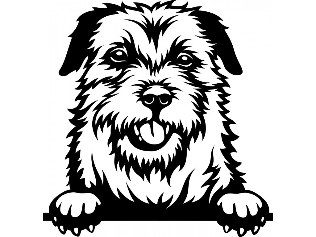 Samolepka pes - Border terier Barva: Bílá, Rozměry samolepky ( šířka x výška ): 20 x 20,7 cm