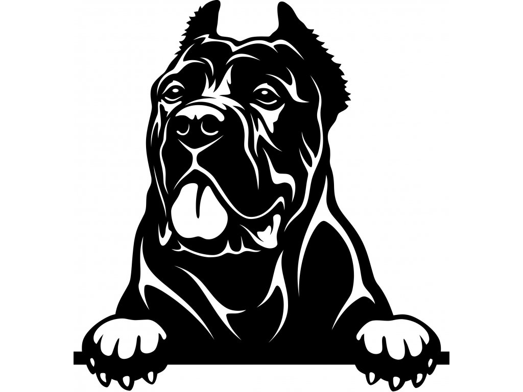 Samolepka pes - Cane Corso Barva: Bílá, Rozměry samolepky ( šířka x výška ): 12 x 12,5 cm