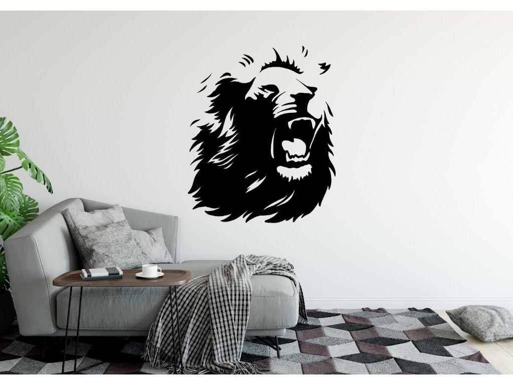 Samolepka na zeď řvoucí Lev Barva: Bílá, Rozměry samolepky ( šířka x výška ): 40 x 48 cm