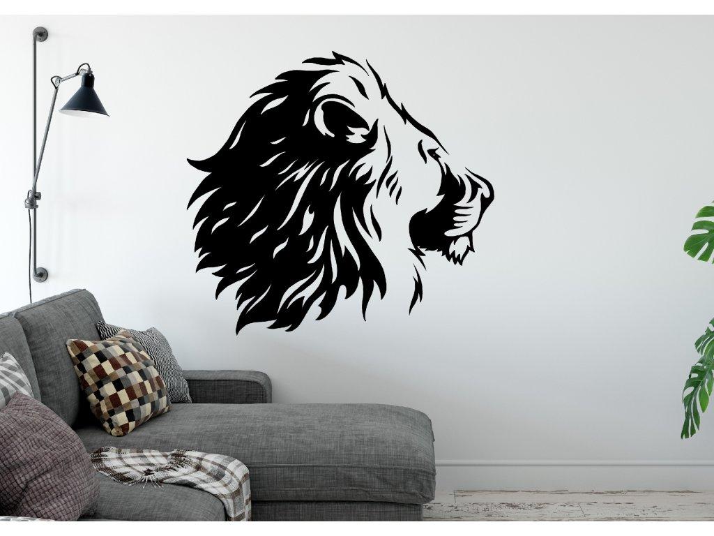 Samolepka na zeď Lev 4 Barva: Bílá, Rozměry samolepky ( šířka x výška ): 56 x 50 cm