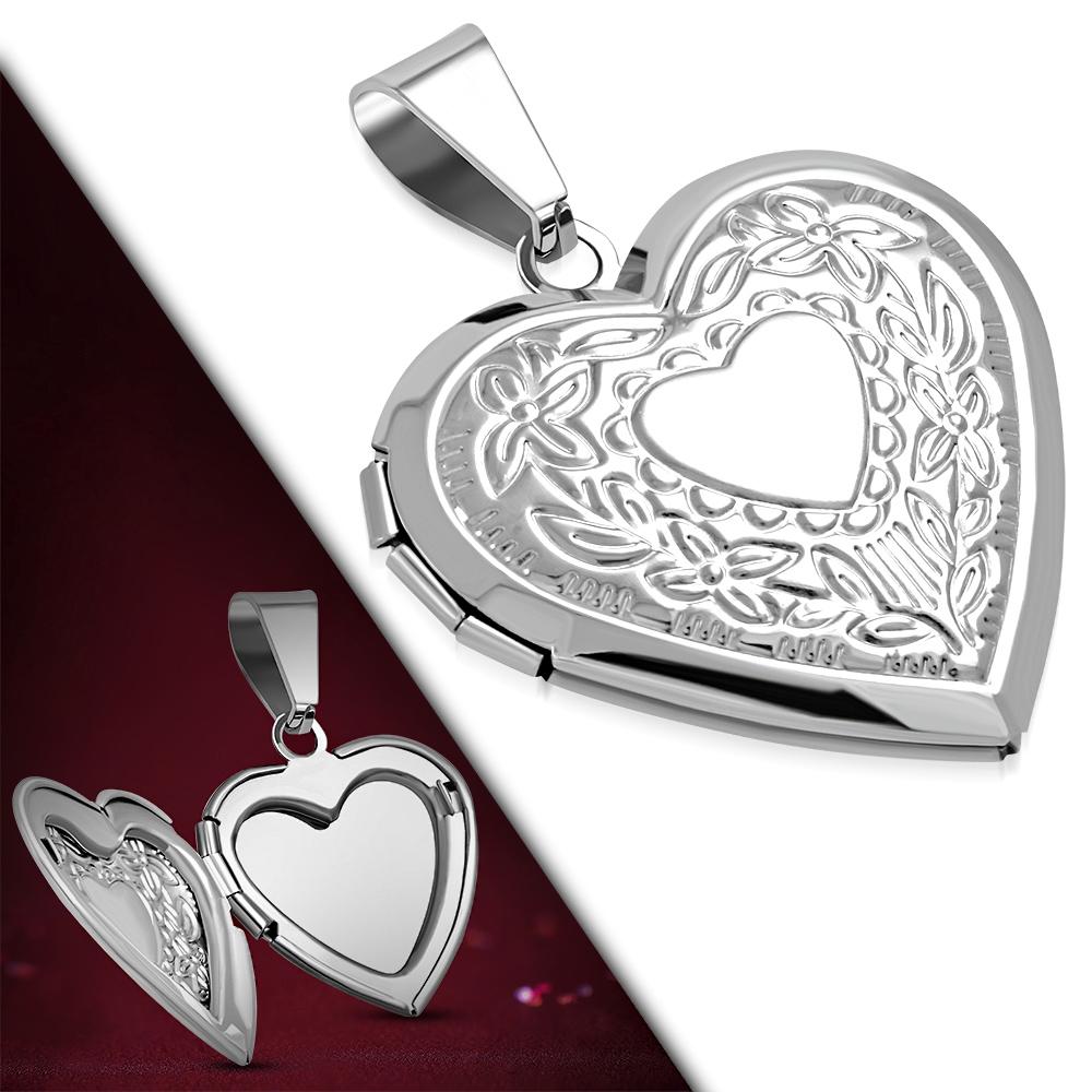 Přívěsek medailonek srdce chirurgická ocel VPP500