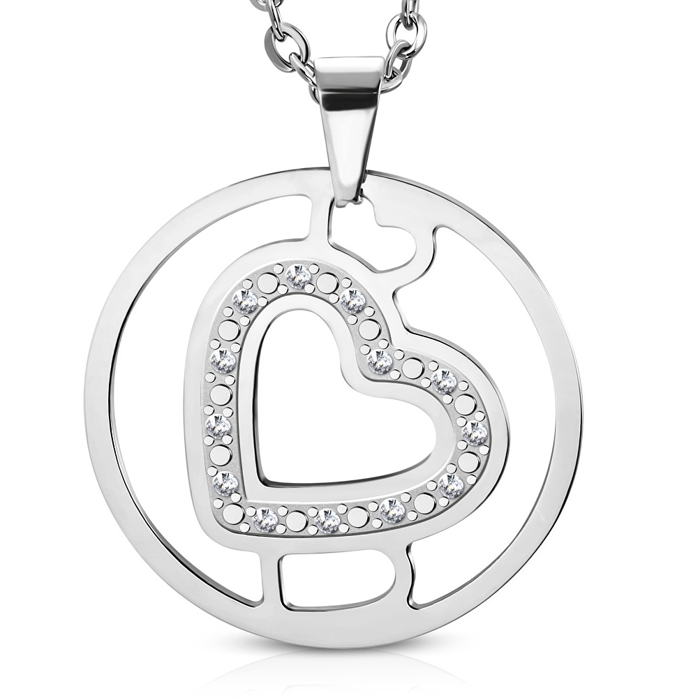 Přívěsek kruh se srdcem chirurgická ocel UPK704