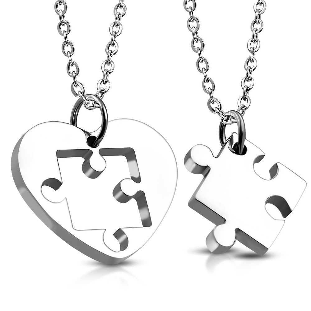 Přívěsek partnerský srdce puzzle chirurgická ocel PBL674