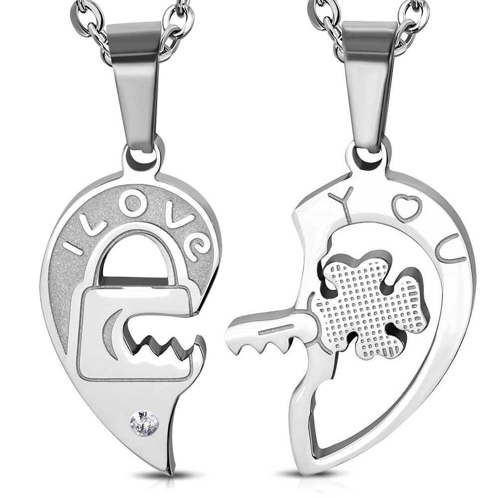 Přívěsek partnerský srdce s klíčem chirurgická ocel UPK246