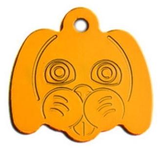 Psí známka ve tvaru psí hlavy - žlutá + možnost rytí