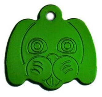 Známka pro psa ve tvaru psí hlavy - zelená + možnost rytí