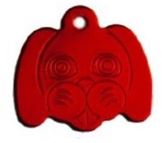 Známka pro psa ve tvaru psí hlavy - červená + možnost rytí