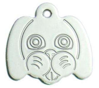 Známka pro psa ve tvaru psí hlavy - stříbrná + možnost rytí