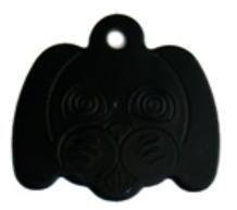 Známka pro psa ve tvaru psí hlavy - černá + možnost rytí