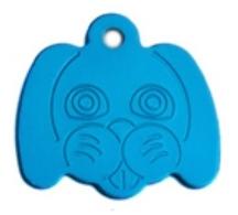 Známka pro psa ve tvaru psí hlavy - bledě modrá + možnost rytí