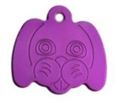 Známka pro psa ve tvaru psí hlavy - fialová + možnost rytí