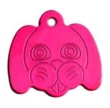 Známka pro psa ve tvaru psí hlavy - pink + možnost rytí