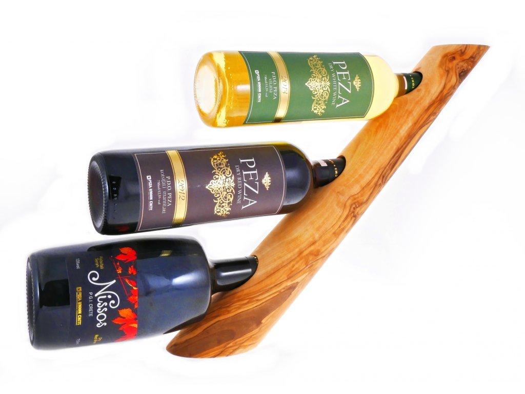 stojan ze dřeva na 3 vína