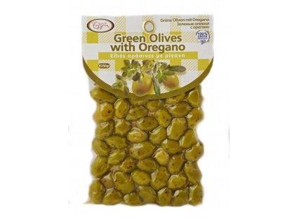 zelené olivy s oregánem 250g