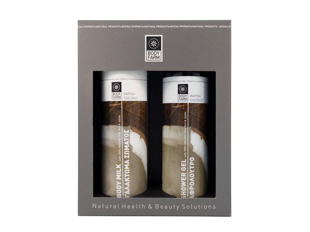 Dárkové balení sprchový gel a tělové mléko KOKOS 2x250ml BODYFARM