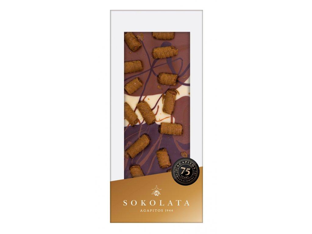 Mlecna horka a bila cokolada s pralinkovymi oplatkami Sokolata Agapitos Greek Market