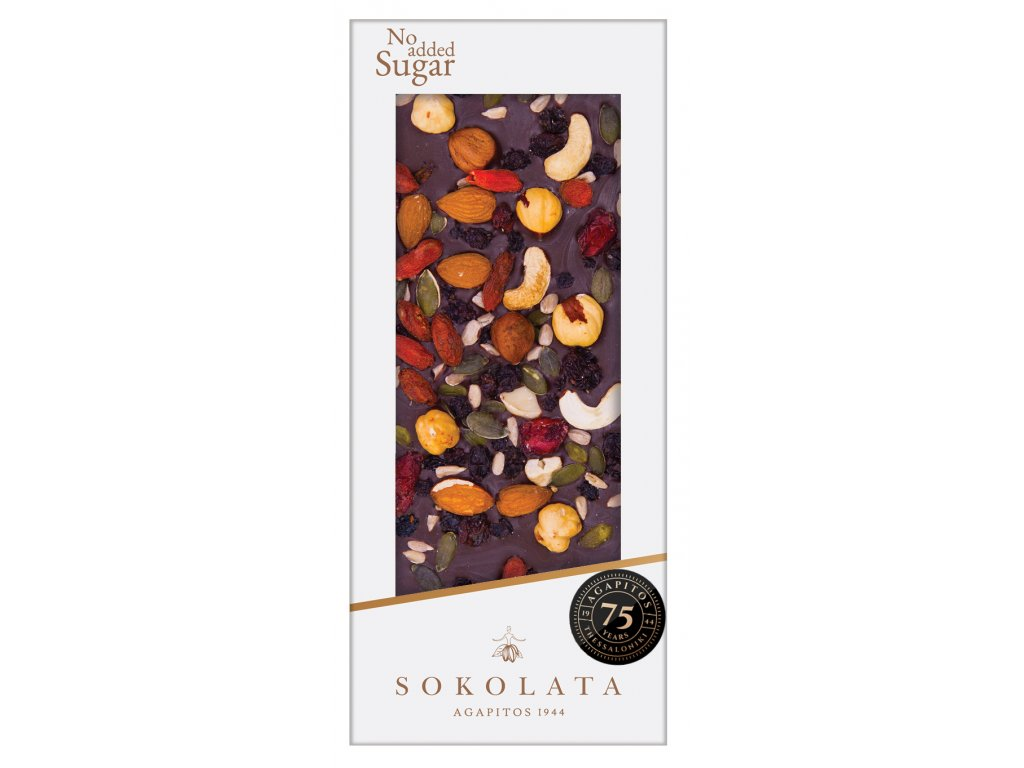 Horka cokolada s orechy bez cukru Sokolata Agapitos Greek Market