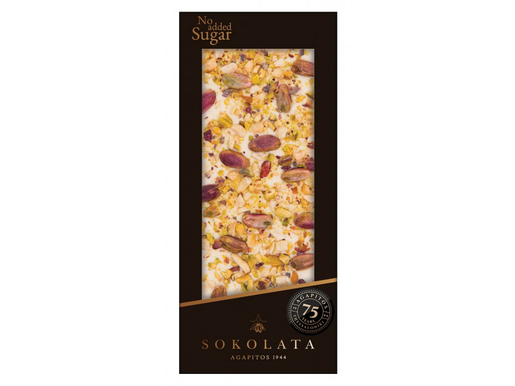 Bila cokolada bez cukru s pistaciemi Sokolata Agapitos Greek Market
